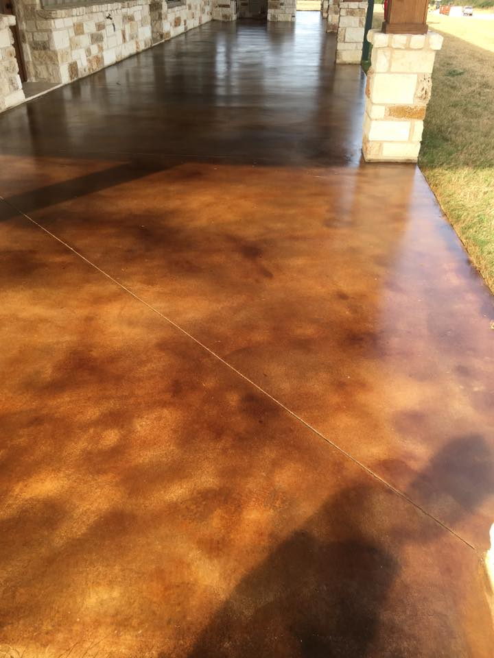 New era epoxy floors of texas creative concrete coatings for Clean acid stained concrete
